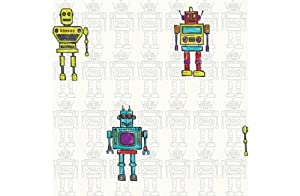 Retro Robot Wallpaper - Multicoloured by manufacturer