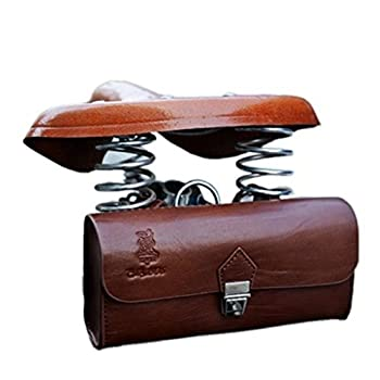 OLizee™ Vintage Style PU Leather Bike Saddle Bag Seat Bag Tail Pouch