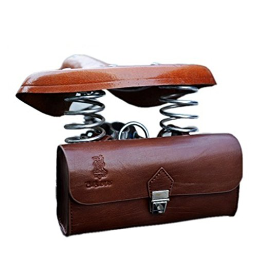 OLizee™ Vintage Style PU Leather Bike Saddle Bag Seat Bag Tail Pouch 0