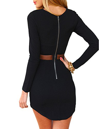 Leadingstar Women Crew Neck Long Sleeve Crop Top Midi Skirt Outfit Two Piece Bodycon Short Dress Black L
