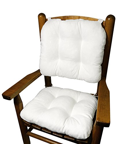 Cotton Duck White Child Rocking Chair Cushions - Seat Cushion and Back Cushion for Children's Rocker - Latex Foam Fill - Reversible- Machine Washable (White) (Rocking Chair Pad White compare prices)