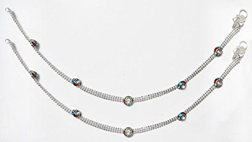 DollsofIndia Pair Of White Metal Anklet - 10 Inches Each - White - B01AON77HG