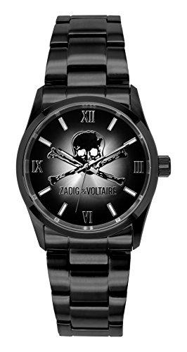 Zadig & Voltaire ZV 007/3AM Rock Unisex Watch-Analogue Quartz-Black Dial-Stainless Steel Black Plated Bracelet