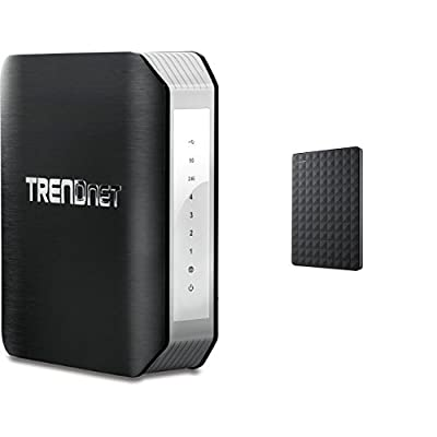 TRENDnet Wireless AC1900 Dual Band Gigabit Router with USB Share Port, TEW-818DRU and Seagate 3TB Expansion Portable Hard Drive