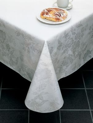 """Classic Series Vinyl Tablecloth Damask, White 52"""" x 52"""""""