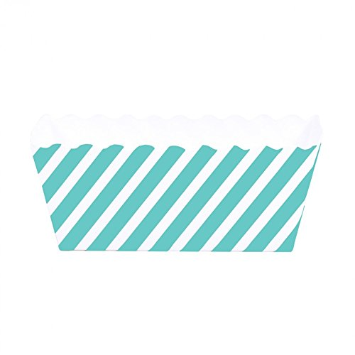 Dress My Cupcake Striped Rectangle Loaf Pan (Set of 6), Diamond Blue (Diamond Cake Pan compare prices)