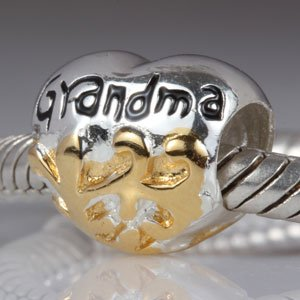 Everbling Grandma Heart Authentic 925 Sterling Silver Bead Fits Pandora Chamilia Biagi Troll Charms Europen Style Bracelets
