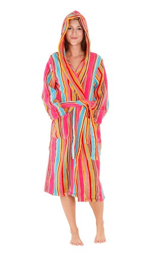 Del Rossa Women s 14 oz Fleece Hooded Bathrobe Robe d7ebdb6fe