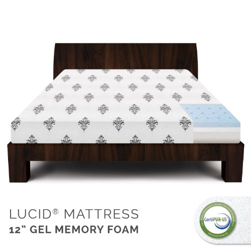 Lucid 12 Inch Gel Memory Foam Mattress - 4 Pound Density Ventilated Gel Foam - 100% Certipur-Us Certified Foam - 25-Year Warranty - Queen