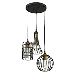 YOBO Lighting Antique 3-lights Island Chandelier Wire Cage Pendant Light