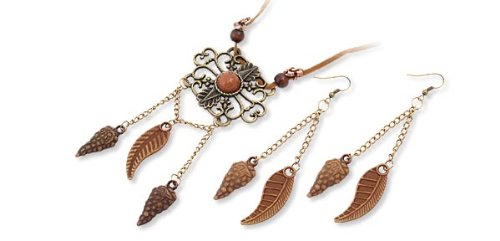 Rosallini Charming Eastern Tibet Flower Pendant Necklace & Earrings
