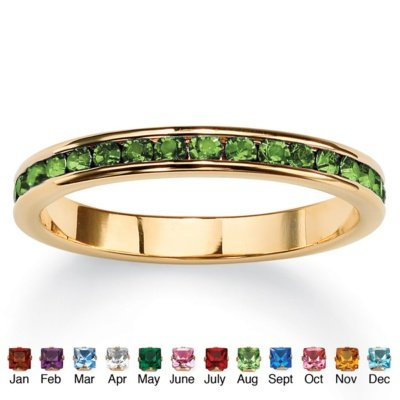 Birthstone 14k Goldplated Eternity Ring August Simulated Peridot