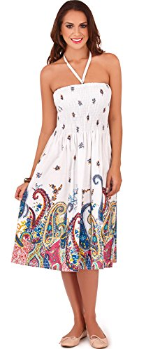 Stunning Ladies 100% Cotton Small Flower Print 3 in 1 Halter Neck or Strapless Summer Dress/Long Skirt, White/Blue, Medium