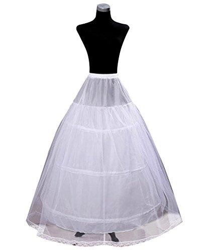 Edith qi Sottogonna 3 cerchio, Crinolina sottoveste, per Vestito Abito da Sposa, Taglia unica, Adatto per Taglia XS---XXL