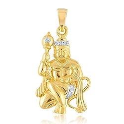 VK Jewels LORD GADHADHARI HANUMAN Pendant gold and Rhodium plated - PS1012G [VKP1012G]