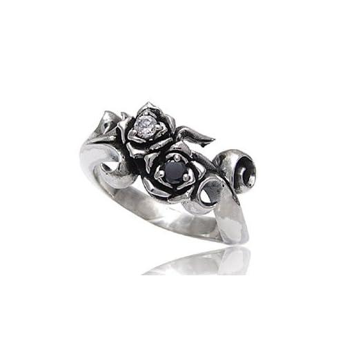 シルバーアクセサリー シルバーリング 指輪 メンズ リング 薔薇 ジルコニア r0515 【11号】
