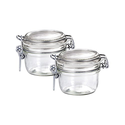 Bormioli Rocco Fido Round Clear Jar, 6-3/4-ounce Set OF 2