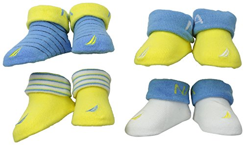 Nautica Baby-Boys Newborn 4 Pack Striped And Solid Bootie, Assorted, 0-6 Months front-1077623