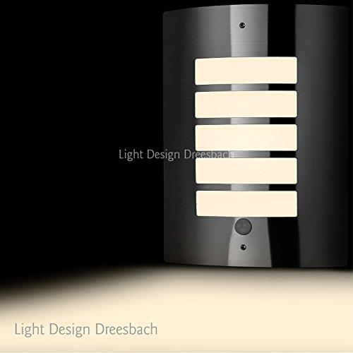 1er Set Edelstahl Wandleuchte Außenlampe Aussenleuchte mit Bewegungsmelder und LED COB 6Watt 580Lumen warmweiß E27