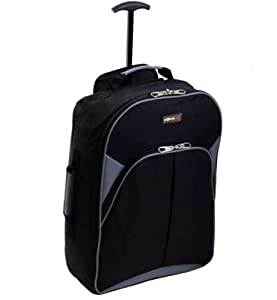 More4bagz Cabin Approved Lightweight Wheeled Trolley Backpack Holdall Travel Luggage Bag - Fits Ryanair Bmi Easyjet Thomson And Many More Black Grey