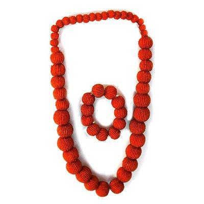 TJC Jewellery Set With Orange Glass Stone
