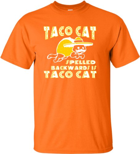 YM 10-12 Orange Youth Taco Cat Spelled Backwards Is Taco Cat Funny T-Shirt (Taco Cat Space Shirt compare prices)