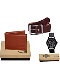 Combo Pack Of Tan Color Wallet With Brown Belt With Black Dial Chronograph Wrist Watch.
