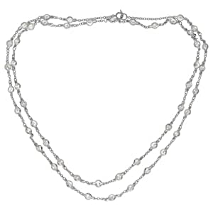 Sterling Silver Cubic Zirconia Station Necklace, 30""