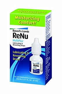 Bausch & Lomb ReNu MultiPlus Lubricating and Rewetting Drops 0.27-Ounce Bottles (Pack of 4)