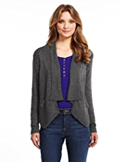 Indigo Collection Macrame Military Cardigan with Angora