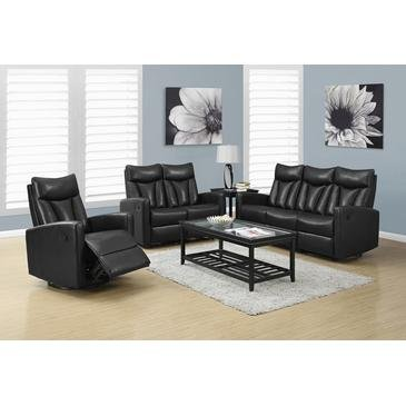 Reclining - Love Seat Bonded Leather / Match Black