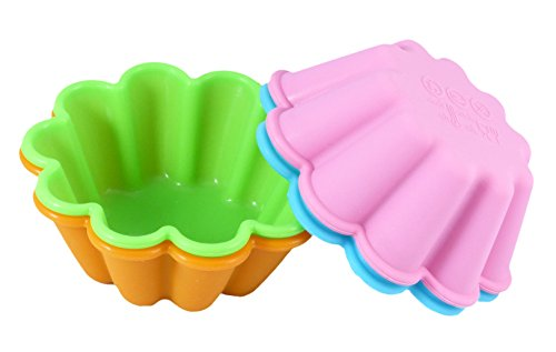 Bakerpan Silicone Mini Cake Pan, Flower Shape Large Muffin Cup, 3 1/2 Inch Baking Cups, 4 Pack (Flower Baking Cups compare prices)