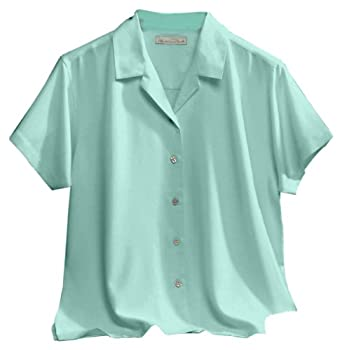 Women's Catalina Camp Shirt with Waffle-Weave Pattern, Color: Aqua, Size: X-Small