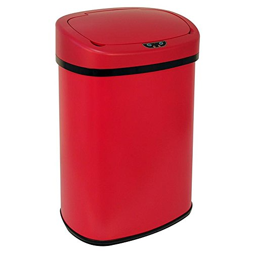 Trash Can Red 13-Gallon Touch Free Sensor Automatic Storage Organization Touchless Home Kitchen Office (Divided Garbage Can compare prices)