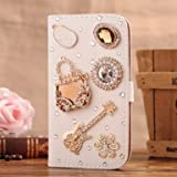 C-GUESS Nokia LUMIA 720 Jewelry Bling Diamond Gem Leather Smart Case Cover With Magnetic Flip Horizontals & Card Holder // Handbag Guitar Flower