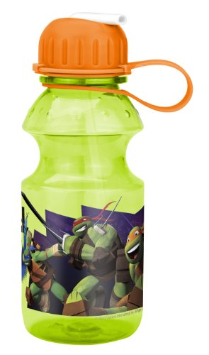Zak! Designs Tritan Water Bottle with Flip-up Spout with Teenage Mutant Ninja Turtle Graphics, Break-resistant and BPA-free plastic, 14 oz. - 1