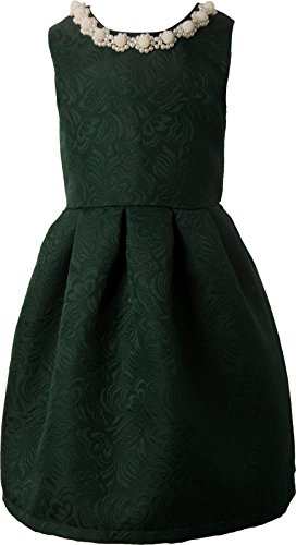 Ipuang Little Girls' Lovely Pattern Dresses for Special Occasions 5 Dark Green