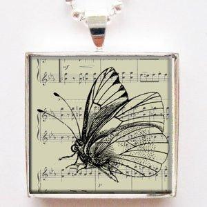 Vintage Ephemera Butterfly Glass Tile Pendant Necklace