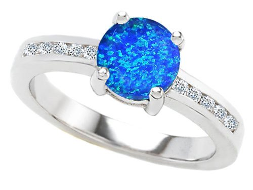 Star K Round 7Mm Simulated Blue Opal Engagement Ring Size 8