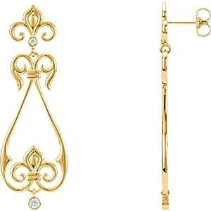 IceCarats Designer Jewelry 14K Yellow 1/6 Ctw Diamond Fleur-De-Lis Scroll Dangle Earrings 14K Yellow Gold