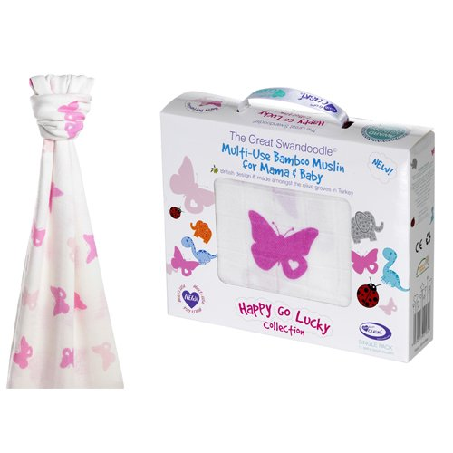 Cuski The Great Swandoodle Swaddle Blanket, Happy Butterflies