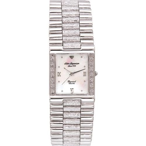 Jules Jurgensen Men's 7884W Silver-Tone Diamond Dress Watch
