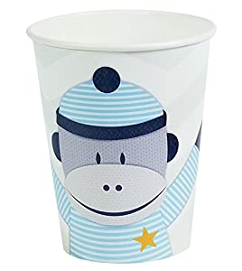 Sock Monkey Blue 9 oz. Paper Cups (8)