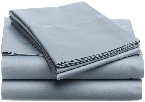 Buy Cheap Pinzon Hemstitch 400-Thread-Count Egyptian Cotton Sateen Sheet Set, Queen, Smokey Blue