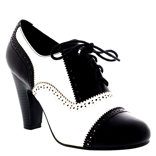 Womens Evening Mid Heel Ankle Boots Party Mary Jane Shoes Block Heels - Black/White - US7/EU38 - KL0008B