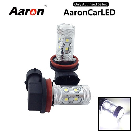 2Pcs Aaron White H11 60W Xb-D Cree Led Light Bulbs For Drl Fog Driving Lights (Not For High/Low Beam)