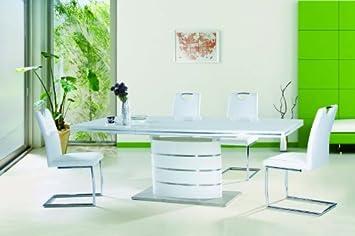 Jadella Fano Table à rallonge Effet brillant 90 x 160-220 x 75 cm