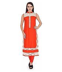 BPT Stylish Party Wear Orange Poly Rayon Kurti ( Size XL / 42 Chest )