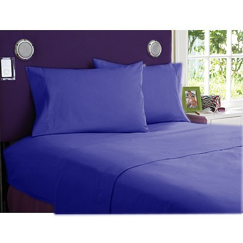 "650 Tc Egyptian Cotton Bed Sheets For Camper'S, Rv'S, Bunks & Travel Trailers 4 Piece Set 12"" Deep Short Queen (60X75"") Egyptian Blue Solid back-314953"