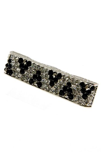 Karmas Canvas Crystal Bar Two Finger Ring (Black/Silver)